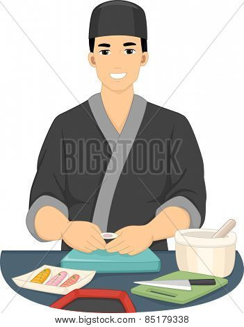 Illustration of a Male Chef in Kimono Preparing Sushi