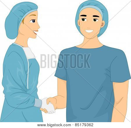 Illustration of a Doctor and Her Patient Shaking Hands