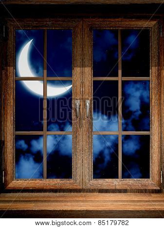 Wooden window and moon