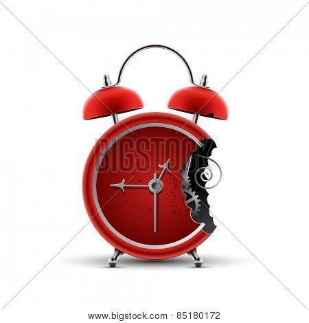 bitten red alarm clock