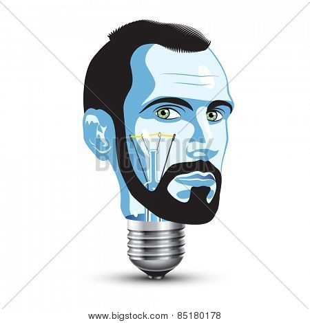 Light Bulb with Head of Beard Man