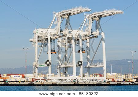 Alameda, CA - March 9, 2015: Oakland Container Shipyard loading/unloading cranes