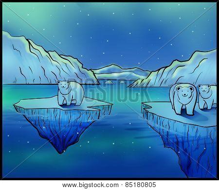 Polar Bears and Northern Lights