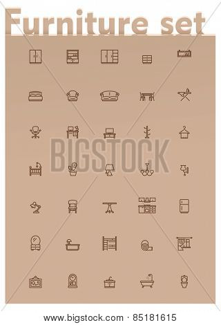 Set of the home furniture and decoration related icons