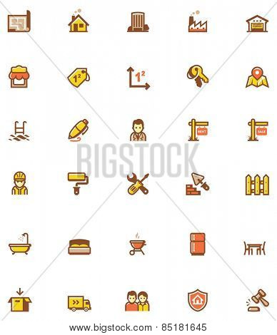 Set of the real estate related icons