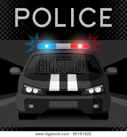 Police car with flash light. Vector illustration