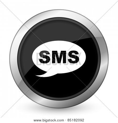 sms black icon message sign