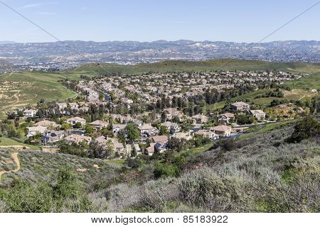 Suburban valley housing tracts near Los Angeles in Ventura County, California.