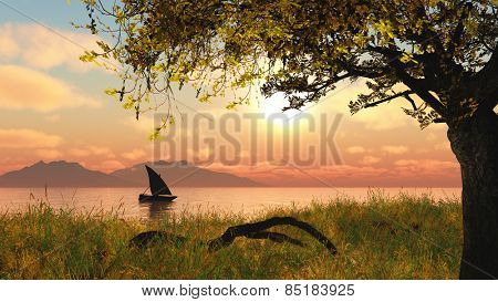 3D landscape with a boat on a river against a sunset sky