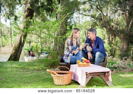 Smiling couple having wine while sitting on chairs at campsite