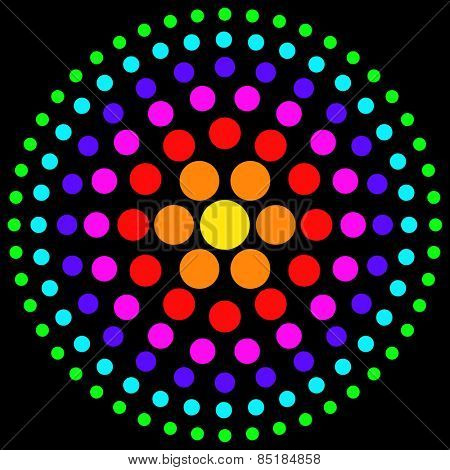 Circles of multicolored dots on a black background.