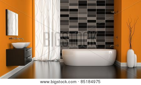 Interior of modern bathroom with orange wall 3D rendering