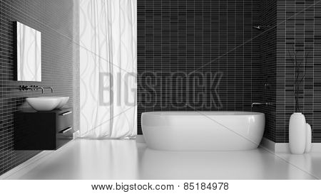 Interior of modern bathroom with black tiles  wall 3D rendering