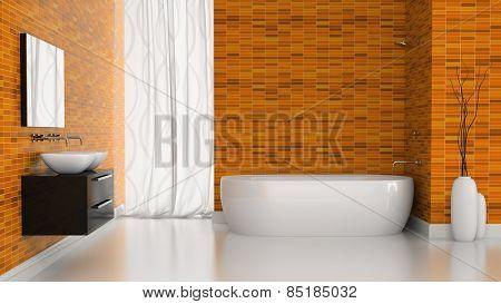Interior of modern bathroom with orange tiles walls 3D rendering