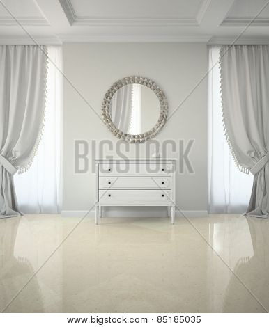 Interior of classic room with round mirror and cabinet 3D rendering