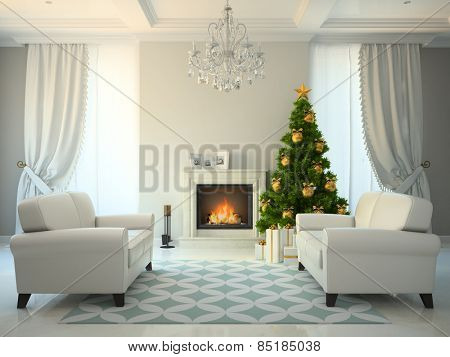 Classic style room with fireplace and christmas tree 3D rendering
