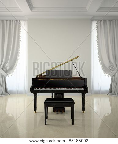 Room in classic style with piano 3D rendering