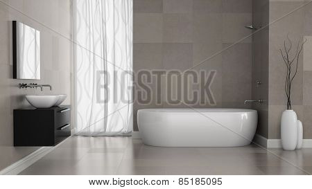 Interior of modern bathroom with grey tiles  wall 3D rendering