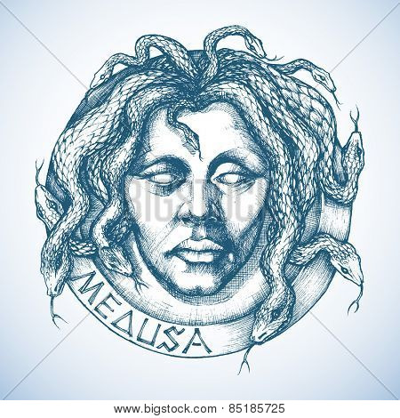 Mythological Medusa portrait with snakes in place of hair sketch