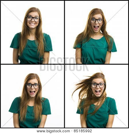Portrait of a beautiful girl with a silly happy expression