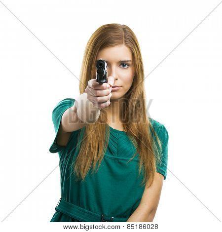 Beautiful woman holding a weapon