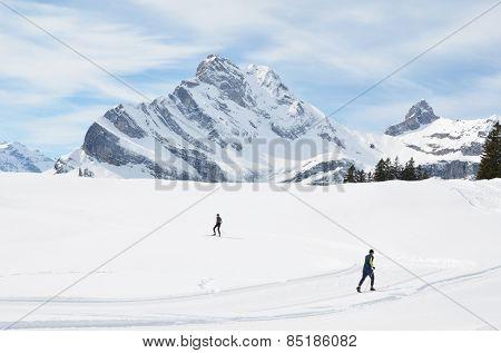 Nordic skiing in Braunwald, Switzerland