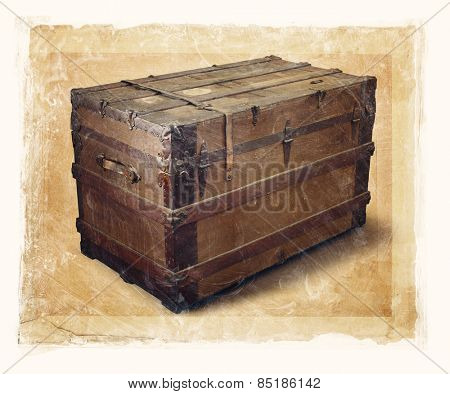 Grainy and gritty image of an old steamer trunk.