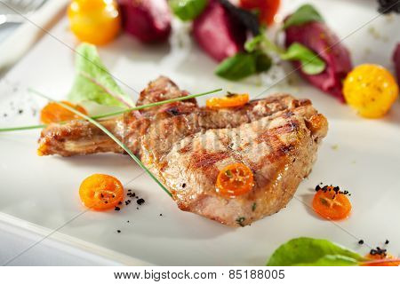 Pork Loin BBQ with Beet Cream and Sauce