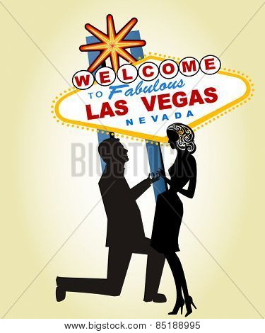 Proposal at Famous Las Vegas Sign - Man and ring separate elements, Woman Separate for other uses