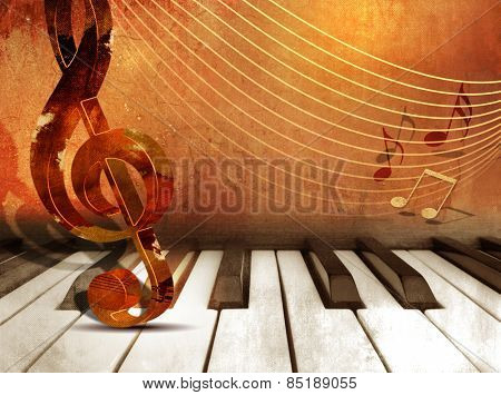 Music background with piano keys and music notes
