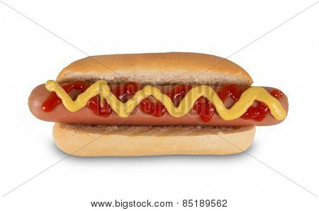 Hot dog with mustard and ketchup. Isolated on white background