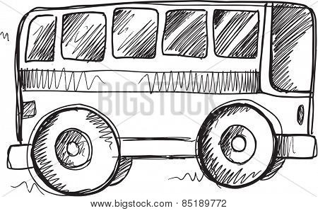 Doodle Sketch School Bus Vector Illustration Art