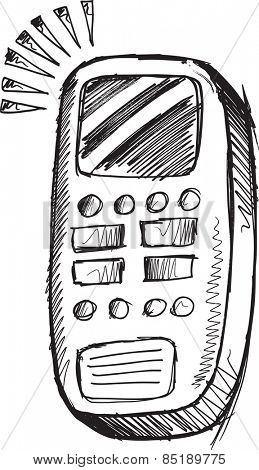 Doodle Sketch Cell Phone Vector Illustration Art