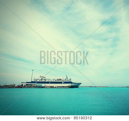 huge Yacht docked at Marina Flisvos in Faliro Athens Greece