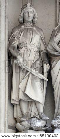 VIENNA, AUSTRIA - OCTOBER 10: Statue of Saint from south portal of gothic church Maria am Gestade in Vienna, Austria on October 10, 2014.