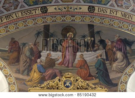 BAD ISCHL, AUSTRIA - DECEMBER 14: Last supper, fresco painting in parish church of St. Nicholas in Bad Ischl, Austria on December 14, 2014.