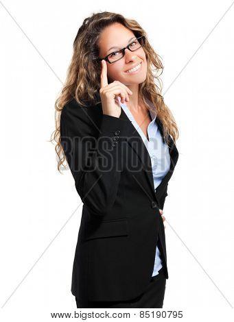 Smiling female manager on white background