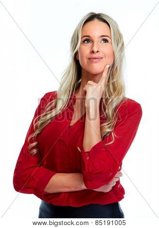 Woman in red blouse isolated over white background.
