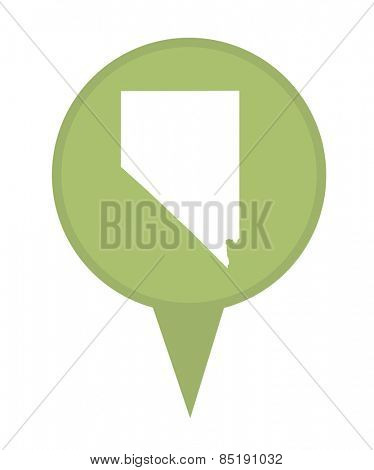 American state of Nevada marker pin isolated on a white background.