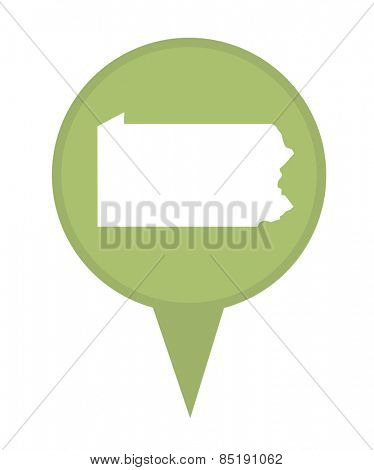 American state of Pennsylvania marker pin isolated on a white background.