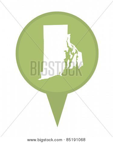 American state of Rhode Island marker pin isolated on a white background.