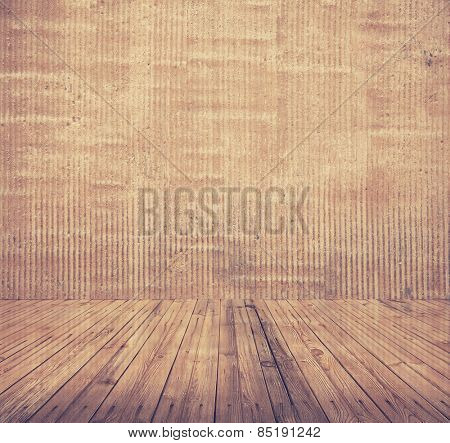 old room with concrete wall and wooden floor, retro filtered, instagram style