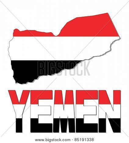 Yemen map flag and text illustration