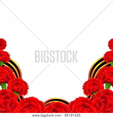 Victory Border With Red Carnations Border With Gradient Mesh, Vector Illustration