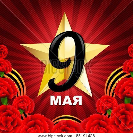 Victory Day Poster With Red Carnations Border With Gradient Mesh, Vector Illustration