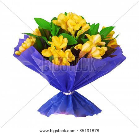 Bouquet of yellow fresia flower, isolated on white