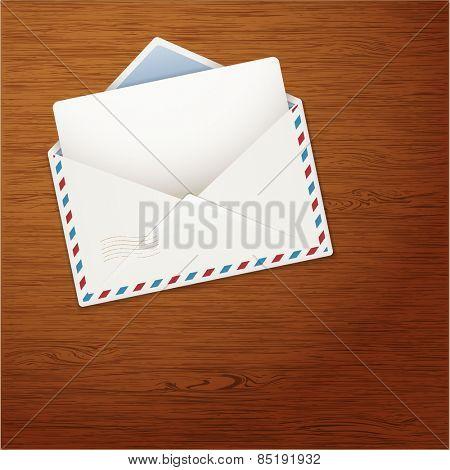 Envelope on Wooden Background. illustration.