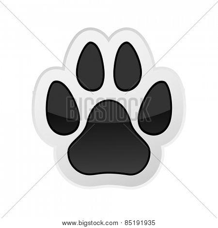 Animal Paw Print Isolated on White. Icon. Illustration.
