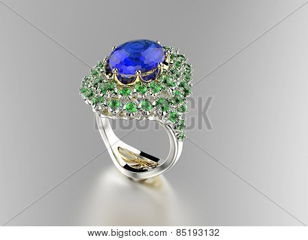 Ring with Diamond. Jewelry background. Sapphire