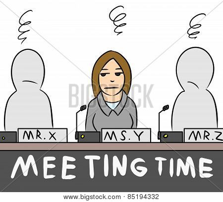 cartoon woman salary man meeting